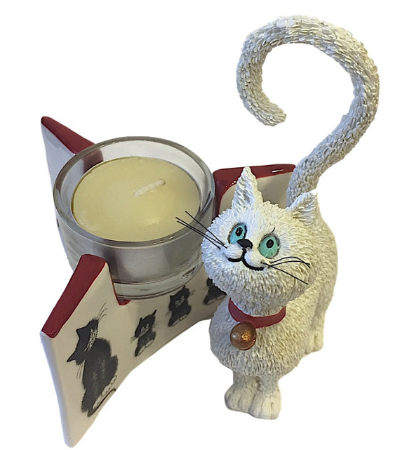 Cat Figurine and Tealight Candle Funny Looks Cats Give Dubout Museum Gift