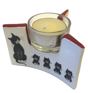 Cats Momma with Kittens in Row Ceramic Tealight Candleholder 3.5W