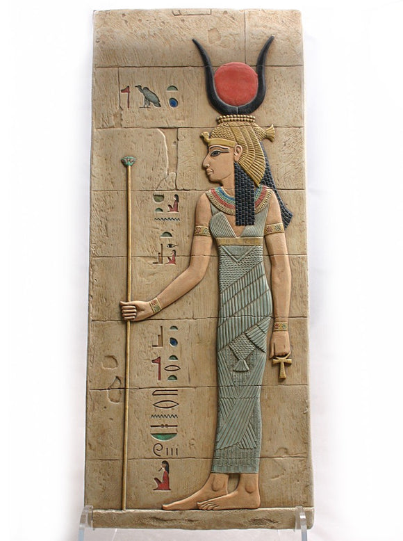 Museumize:Isis Holding Staff Egyptian Tomb Large Wall Relief 21.5H,Blue
