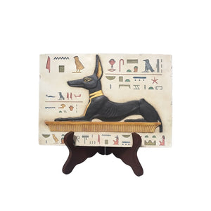 Anubis Seated Portrait with Hieroglyphs Home Decor Egyptian Wall Hanging 10.5L