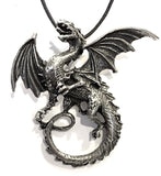Dragon Breathing Fire Celtic Pewter Pendant Costume Charm Necklace