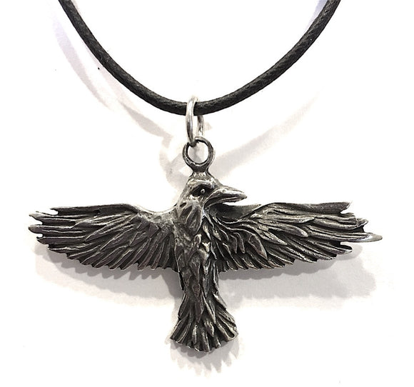 Museumize:Raven Celtic Prophesy Morrigan Bird Pewter Pendant Charm Necklace