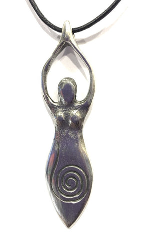 Spiral Goddess Woman Early Age Abstract Unisex Pewter Pendant Necklace 2.5L