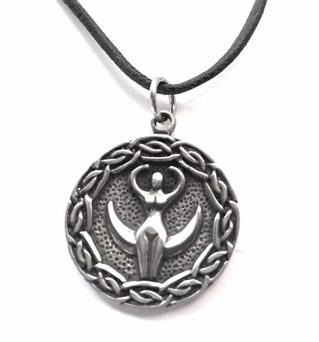 Nile Goddess Egyptian Mother Goddess Pendant Pewter Necklace 0.75H - Museumize  - 1