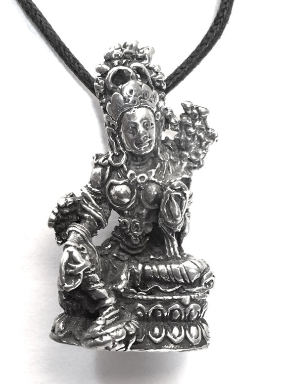 Museumize:Tara Mother Goddess Compassion Buddhism Pewter Pendant Charm Necklace