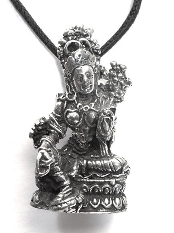 Tara Mother Goddess Compassion Buddhism Pewter Pendant Charm Necklace - Museumize