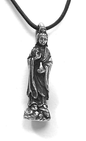 Kuan Yin Compassion Goddess Pewter Pendant Charm Necklace - Museumize