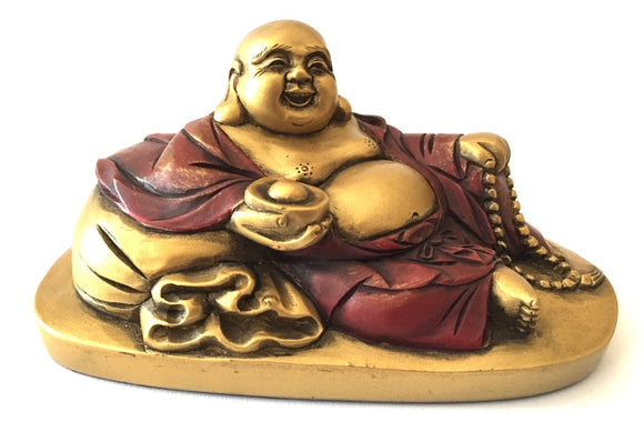 Museumize:Happy Buddha Ho Tai Reclining on Candy Bag Miniature Statue 2.5H, Assorted Colors,Gold and Red