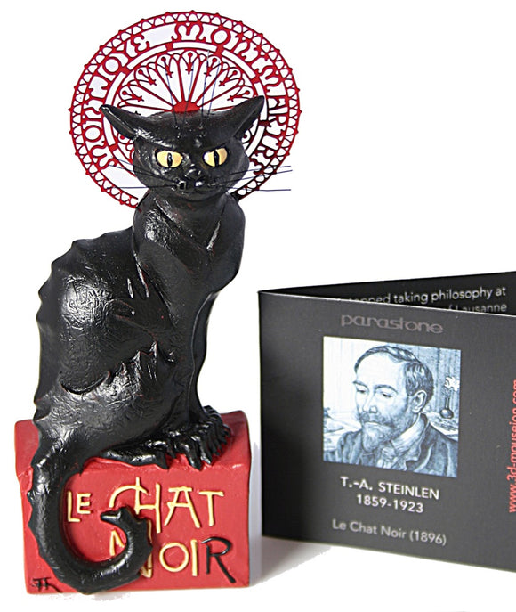 Le Chat Noir Black Cat Statue by Steinlen, Assorted Sizes