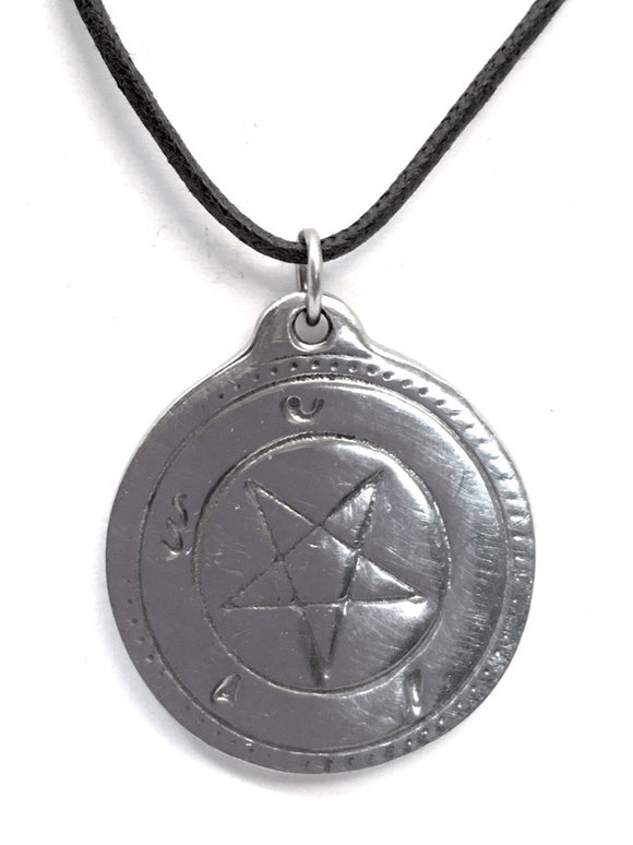Museumize:Talisman Amulet Good Fortune Kabbala Pentagram Pewter Pendant Necklace