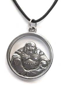 Museumize:Laughing Happy Buddha Hotai Unisex Pewter Pendant Charm Necklace