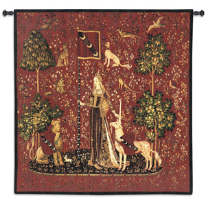 Lady with Unicorn Sense of Touch Woven Wall Tapestry Chenille Infused 53W x 56H