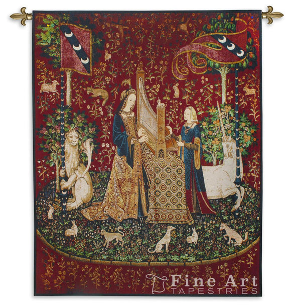 Museumize:Lady with Unicorn Sense of Hearing Wall Tapestry 65H