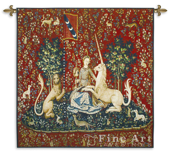 Museumize:Lady with Unicorn Sense of Sight Wall Tapestry 53W