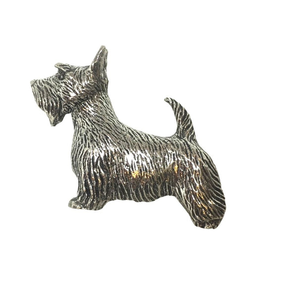 Dog Scottish Terrier Scottie Portrait Dog Pin Badge Tie Tack Pewter 1.25L