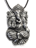 Ganesh Elephant Hindu God Path Clearer Unisex Pewter Pendant Charm Necklace