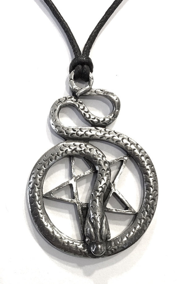 Museumize:Pentacle of Snake Wiccan Sorcery Unisex Pewter Pendant Charm Necklace