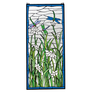Dragonflies Dance Nature Green Blue Stained Glass Window 40H