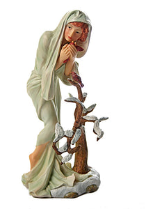 Winter Maiden with Snow Capped Tree Statue from Four Seasons by Mucha 8.25H