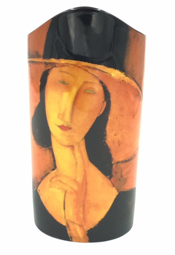 Modigliani Jeanne Hebuterne Woman in Straw Hat Ceramic Vase 8.8H