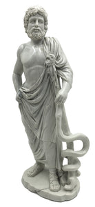 Asclepios from Epidaurus with Attribute Stick with Snake Greek Medicine Statue 8.25H