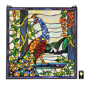 Peacock Bird in Garden Multicolor Stained Glass Window 22.5H