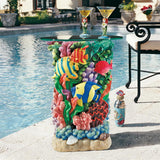 Fish Ocean Coral Great Barrier Reef Underwater Multicolor Sculpture Side Table with Glass 21H