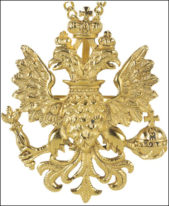Faberge Byzantine Double-Headed Eagle Pin Pendant Russian Romanov Royalty 2.2H