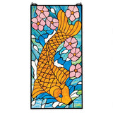 Asian Koi Fish Orange Blue Pink Stained Glass Window 28.5H