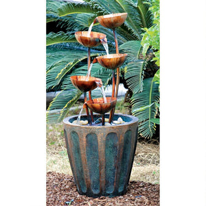Copper Flowers in Pot Cascading Waterfall Midcentury Fountain Five Levels 33.5H
