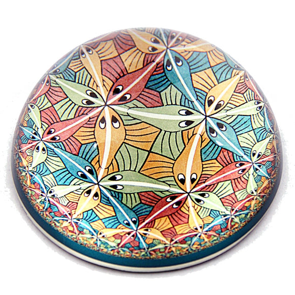Escher Tessellations Fishes Circle Limit III Glass Dome Desktop Paperweight 3W