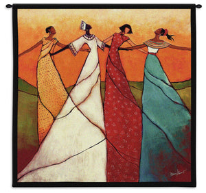 Four Women Linked in Arms Showing Unity Strength Togetherness Orange Red Green Woven Wall Tapestry 31x31