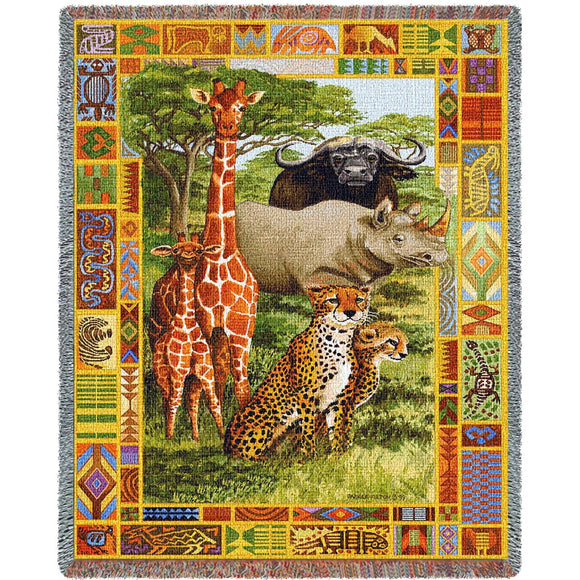 African Plains Giraffe Buffalo Rhino Cheetah Woven Tapestry Throw Blanket With Fringe 72x54