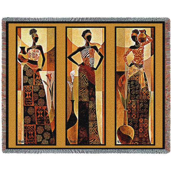 Namirya African Women Woven Tapestry Throw Blanket By Keith Mallet Fringe Cotton 72x54