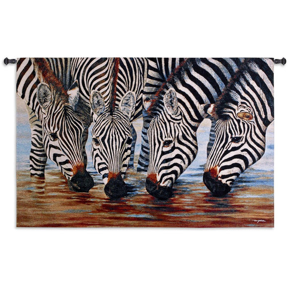 Four Zebras Drink from Stream Close View of Heads Pictorial Black White Woven Wall Tapestry 52x34