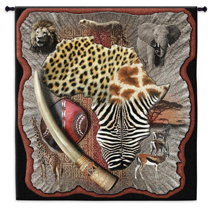 Africa Continent Animals Tusk Patterns Black Brown African Woven Wall Tapestry 52x47