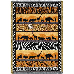 African Animals In The Wild Safari Woven Tapestry Throw Blanket with Fringe Cotton 70x50