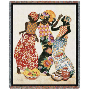 Carribbean Black Women Dancing Jubilation Woven Tapestry Throw Blanket with Fringe Cotton 72x54