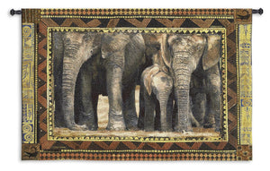 Elephants with Calfs African Animals Brown Black Woven Wall Tapestry 53x38