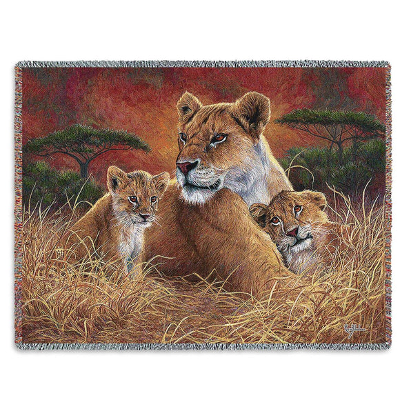 Lions and Lion Cubs African Animals Motherly Love Woven Tapestry Throw Blanket with Fringe Cotton 72x54