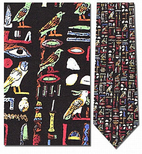 Museumize:Egyptian Hieroglyphs Multicolor Men Silk Neck Tie