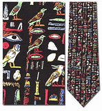 Egyptian Hieroglyphs Multicolor Men Silk Neck Tie - Museumize