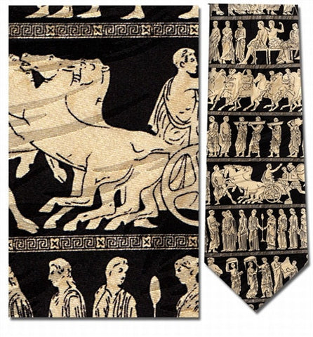 Greek Panathenaic Gods and Goddesses Procession Silk Neck Tie - Museumize