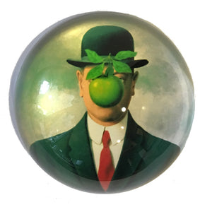 Magritte Bowler Man Green Apple Son of Man Surrealism Glass Dome Desk Paperweight 3W
