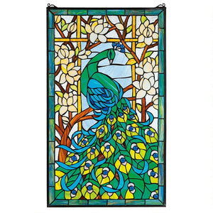 Peacock Paradise Long Tail Green Blue Stained Glass Window 35H