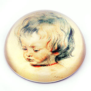 Baby Boy Drawing Nicholas Glass Paperweight by Peter Paul Rubens 3W