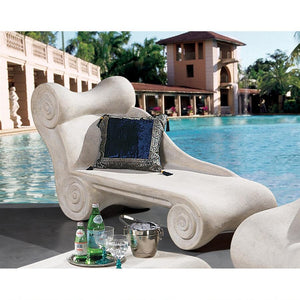 Hadrians Villa Scroll Chaise Lounge for Pool Garden Classical 70W Frt-Nr