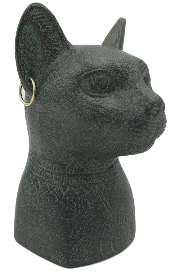 Bastet Cat Egyptian Bust with Earrings and Solar Disc Small Statue 3.4H