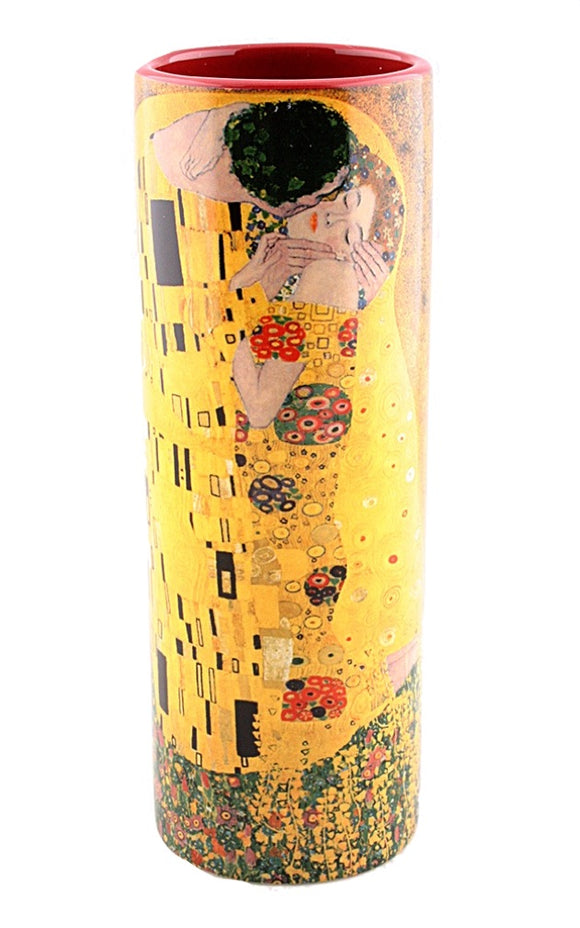 Klimt The Kiss Ceramic Flower Bud Vase Lovers Kissing Romance 7H