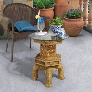 Asian Pagoda Tranquil Illuminated Side Table with Glass 20H
